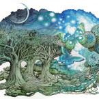 Three trees and moon